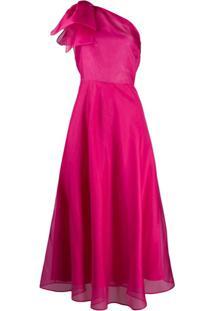 Msgm Vestido Ombro Único - Rosa