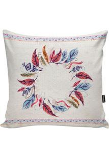 Capa Para Almofada Feathers- Off White & Azul Claro-Stm Home