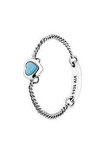 Anel Amuleto Do Amor- Prata & Azul Claro- Tamanho 44Pandora