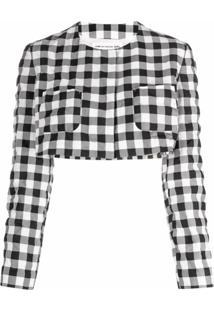 Comme Des Garçons Girl Jaqueta Cropped Com Estampa Xadrez - Branco