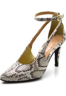 Sapato Scarpin Aberto Salto Alto Fino Em Napa Olímpia Cobra Branca - Kanui