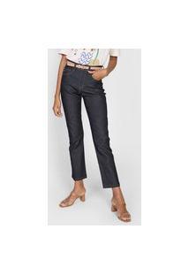 Calça Jeans Cantão Reta Pespontos Azul-Marinho