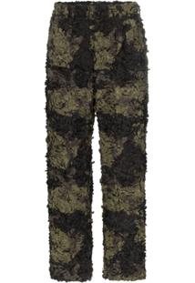 Comme Des Garçons Homme Plus Embroidered Camouflage Trousers - Marrom
