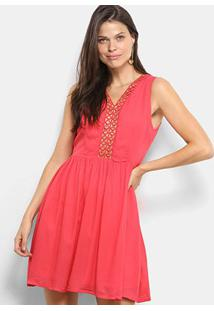Vestido Holin Stone Decote Ilhos - Feminino-Coral