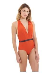 Body Rosa Chá Bia Elásticos 1 Beachwear Laranja Feminino Body Bia Elasticos 1-Pureed Pumpkin-Pp