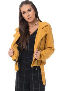Jaqueta Pkd Concept Suede Mostarda - Amarelo - Feminino - Dafiti