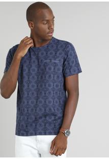Camiseta Masculina Estampada Arabescos Manga Curta Gola Careca Azul Marinho