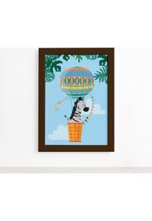 Quadro Infantil Zebra E Balão Moldura Marrom 33X43Cm