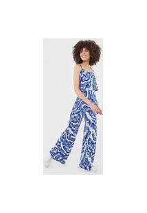 Macacão Desigual Pantalona Pacific Ocena Azul/Branco