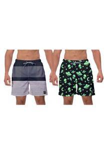 Kit 2 Shorts Space Estampado Preto Cinza Moderno Moda Praia Surf Vôlei Esporte Caminhada Banho W2