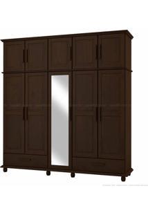 Guarda-Roupa Duplex Com Espelho Veneza 100% Madeira Maciça 10 Portas E 2 Gavetas Tabaco - Kitimar Móveis