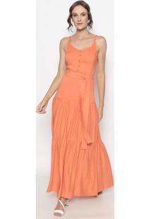 Vestido Longo Com Franzidos- Laranja- Linho Finolinho Fino