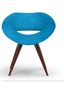 Poltrona Beijo Azul Turquesa Cadeira Decorativa Com Base Fixa De Madeira