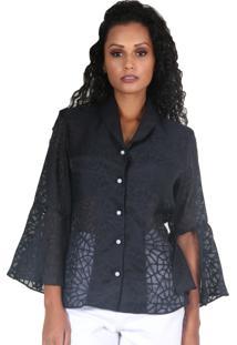 Camisa Romaria Social Transparente Com Detalhe Preta