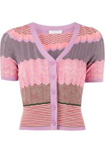 Sandro Paris Short-Sleeve Fitted Cardigan - Rosa