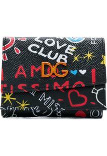 Dolce & Gabbana Carteira 'Love Club' De Couro Estampada - Preto
