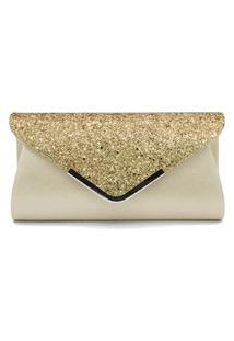 Bolsa Clutch Liage Envelope Brilho Glitter E Metal Alça Removível Prata Dourada