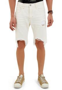 Bermuda John John Clássica Bodrum 3D Sarja Branco Masculina Be Classica Bodrum-Off White-48