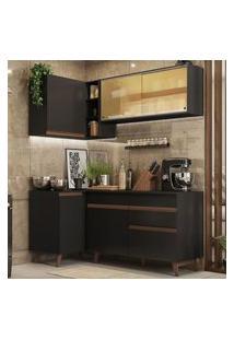 Cozinha Completa De Canto Madesa Reims 262001 Com Armário E Balcão Preto Preto