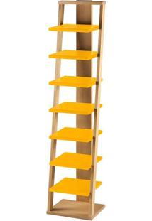 Estante Escada 7 Prateleiras Em Madeira Maciça/Mdf - Palha/Amarelo