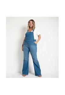 Jardineira Flare Jeans Curve & Plus Size Azul