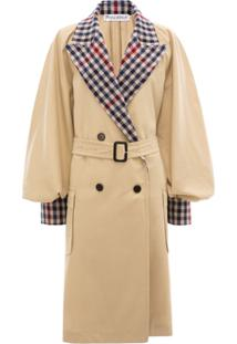 Jw Anderson Contrast Check Trench Coat - Neutro