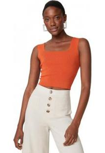 Blusa Cropped Amaro Tricot Decote Quadrado Feminino - Feminino