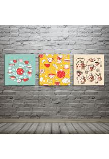 Conjunto De 3 Telas Decorativas Estilo Ilustração Porcelanas Café E Chá - Montada: 40X126Cm (A-L) Unico