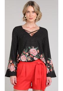 Blusa Feminina Estampada Floral Com Tiras Manga Sino Decote V Preta