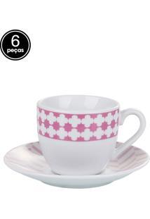 Conjunto 6Pçs Xícaras Para Café De Porcelana Viena 90Ml Lyor