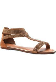 Rasteira Couro Shoestock Nobuck Mini Cristais - Feminino-Caramelo