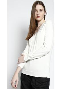 R  299,99. Privalia Suéter Decote V Off White Manga Longa Feminino Algodão Trico  Lacoste ... 8b3253b0f9