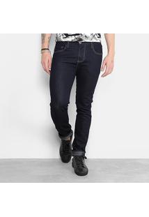 Calça Jeans Skinny Triton Lavagem Escura Masculina - Masculino-Azul Escuro