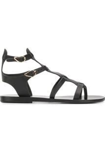 Ancient Greek Sandals Sandália 'Stephanie' De Couro - Preto
