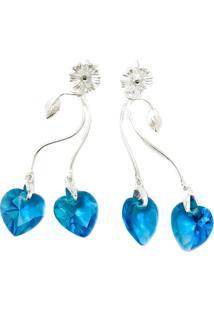 Brinco Prata Mil Coração Azul De Prata