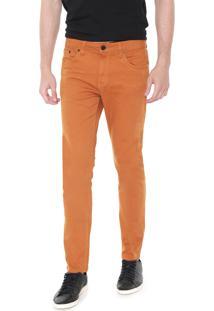 Calça Sarja Calvin Klein Jeans Slim Color Five Pocket Caramelo