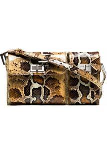 By Far Billy Snake-Effect Leather Shoulder Bag - Marrom