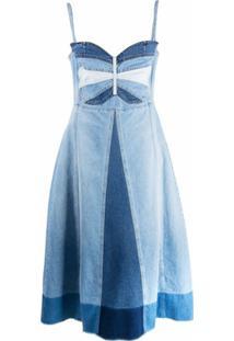 Redvalentino Vestido Jeans Com Patchwork De Borboleta - Azul