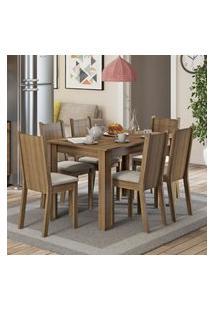 Conjunto Sala De Jantar Maris Madesa Mesa Tampo De Madeira Com 6 Cadeiras - Rustic/Pérola Marrom