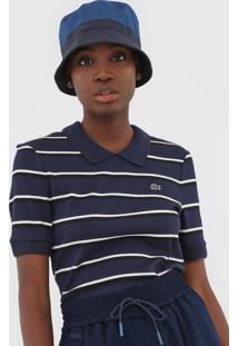 Camisa Polo Lacoste Listrada Azul-Marinho