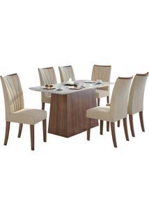Sala De Jantar Nevada 170Cm Plus Com 6 Cadeiras Imbuia Veludo Naturale Creme