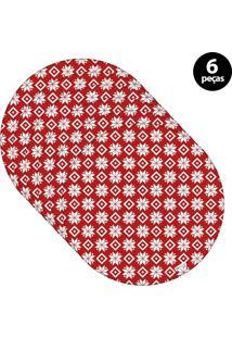 Capa Para Sousplat Mdecore Natal Flocos De Neve Vermelho 6Pçs