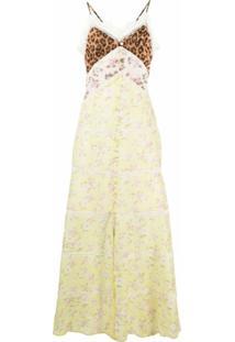 Blumarine Vestido Longo Com Recorte Contrastante - Amarelo