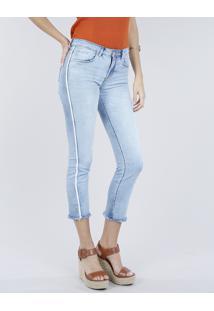 Calça Jeans Feminina Slim Com Faixas Laterais Azul Claro