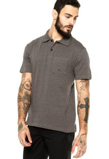Camisa Polo Manga Curta Quiksilver Quadriculado Cinza/Preta