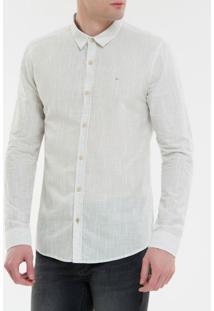 Camisa Ml Ckj Masc Listrada Silk - Cinza Claro - P