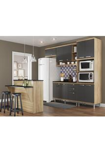Cozinha Completa Multimóveis Com 8 Peças Sicília 5844 Argila/Grafite