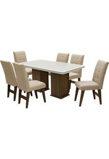Conjunto De Mesa Para Sala De Jantar Com 6 Cadeiras Esparta-Dobue - Castanho / Off / Bege
