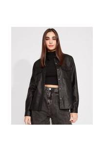Jaqueta Camisa Longa Com Bolsos Manga Longa Preta