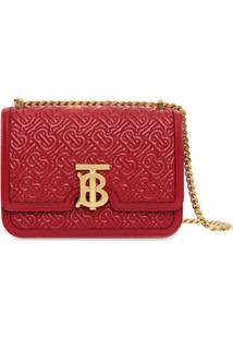 Burberry Bolsa Tiracolo Matelassê Pequena Monogramada - Vermelho
